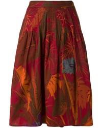 Vintage foliage print midi skirt medium 577549
