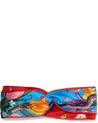 Printed silk twill headband red medium 1251622