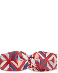 Fendi Printed Silk Twill Headband Red