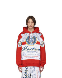 Moschino Red And White Budweiser Edition Logo Hoodie