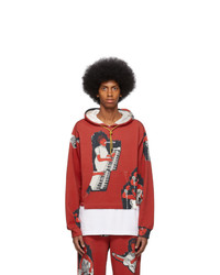 Pyer Moss Red Aop Logo Cropped Hoodie