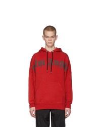 Palm Angels Red Front Logo Hoodie