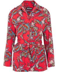 House of Holland Printed Slub Cotton Jacket Red