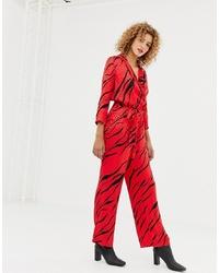 Only Zebra Print Wrap Jumpsuit