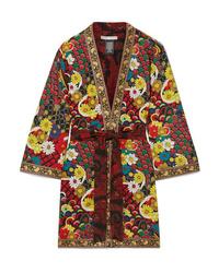 Alice + Olivia Lynn Jacquard Trimmed Printed Crepe De Chine Kimono