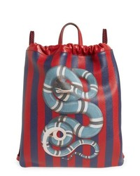 Gucci Kingsnake Stripe Leather Drawstring Backpack