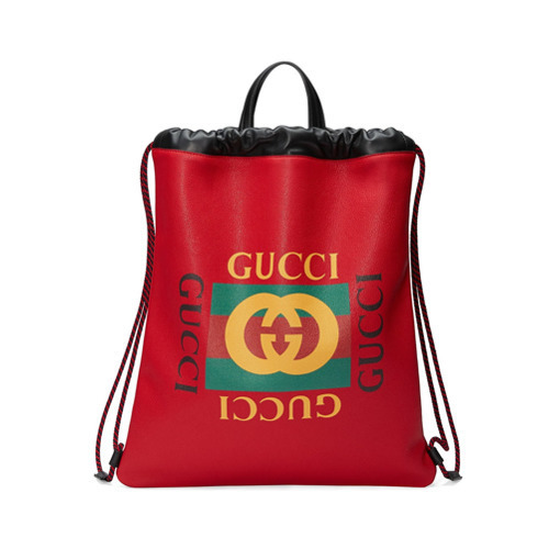 8cfa3752fe $1,782, Gucci Print Leather Drawstring Backpack
