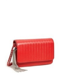 Red Print Leather Crossbody Bag