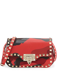 Valentino Camo Patchwork Crossbody Bag Reddark Purple