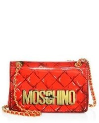 Moschino Fantasy Large Printed Patent Leather Crossbody Bag
