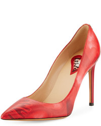 Valentino Heart Print Leather Pump Red