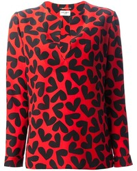 Red Print Long Sleeve Blouse