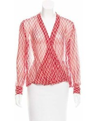 Christophe Sauvat Printed Long Sleeve Blouse W Tags