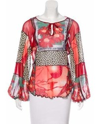 Jean Paul Gaultier Soleil Printed Long Sleeve Blouse
