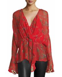 IRO Linette Surplice Long Sleeve Printed Chiffon Blouse