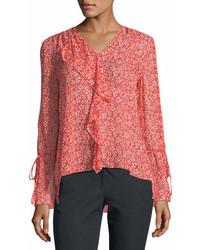 Long sleeve floral print silk chiffon blouse medium 7013456