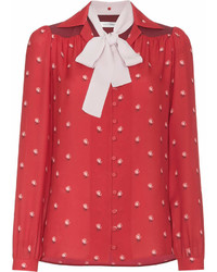 Valentino Rose Print Contrast Collar Silk Shirt