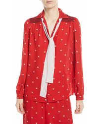 Valentino Rosebud Print Button Front Pajama Blouse With Contrast Necktie