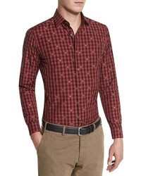 Rooster long sleeve woven shirt red medium 840291