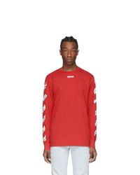 Off-White Red Airport Tape Long Sleeve T Shirt