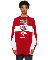 Vetements Red White Motocross Patched Logo Long Sleeve T Shirt