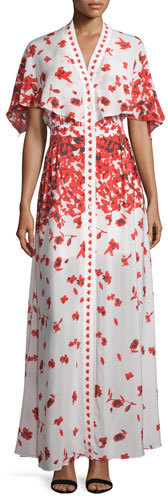 a3c33d7e52ff Alexis Jeannie Poppy Print Cape Maxi Dress, $847 | Neiman Marcus ...