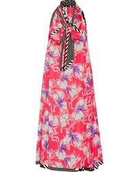 Marc Jacobs Pussy Bow Printed Silk Satin Midi Dress Bubblegum