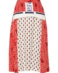Red Print Midi Skirt
