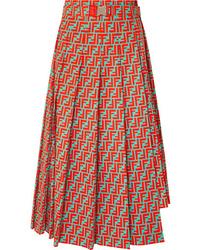 Fendi Asymmetric Pleated Printed Cotton Poplin Skirt