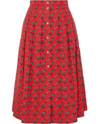 Gucci Pleated Printed Cotton Twill Midi Skirt