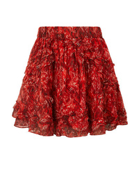 IRO Dazzle Ruffled Printed Tte Mini Skirt