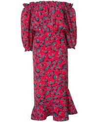 Red Print Off Shoulder Dress