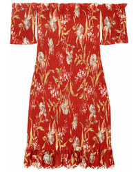 Zimmermann Corsair Off The Shoulder Shirred Printed Linen And Cotton Blend Dress Crimson