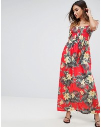 Asos Off Shoulder Maxi Sundress With Shirring In Hawaiian Print