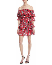 Self-Portrait Pleated Off The Shoulder Floral Print Mini Dress