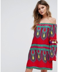 Boohoo Printed Bardot Dress With Pom Trim