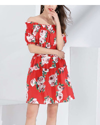 Red Floral Off Shoulder Dress