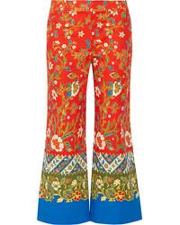 Tory Burch Dayton Cropped Printed Cotton Blend Straight Leg Pants Tomato Red