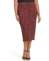 Melissa McCarthy Plus Size Seven7 Print Stretch Knit Pencil Skirt
