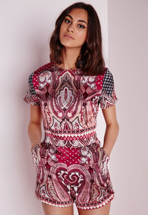 7c9cb8ab53 ... Missguided Paisley Short Sleeve Playsuit Red ...