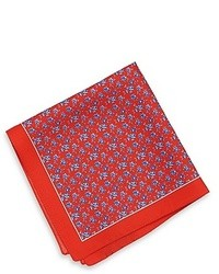 Hugo Boss Pocket Square Silk Print Bright Red