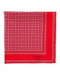 Salvatore ferragamo gancini flower pocket square red medium 176728