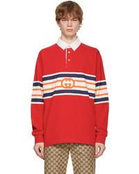 Gucci Red Interlocking G Long Sleeve Polo