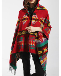 Hooded Geometric Print Tassel Brown Poncho