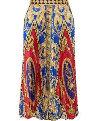Versace Pleated Printed Satin Midi Skirt