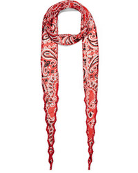 Bead embellished printed georgette scarf red medium 673728