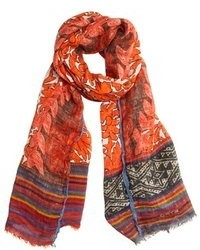 Etro Orange And Red Bird Printed Linen Woven 25 X 78 Scarf