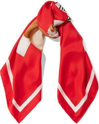 Printed silk twill scarf red medium 1251803