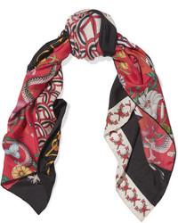 Printed silk twill scarf red medium 3947207