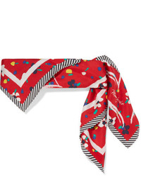Marc Jacobs Printed Silk Twill Scarf Red